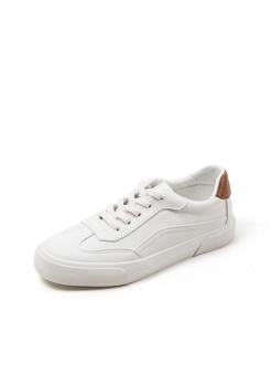 三福2018女簡約系帶低幫板鞋學生運動休閑小白鞋女鞋