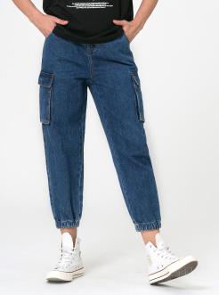 三福2019春裝新品女藍色牛仔長褲 休閑寬松工裝束腳褲女