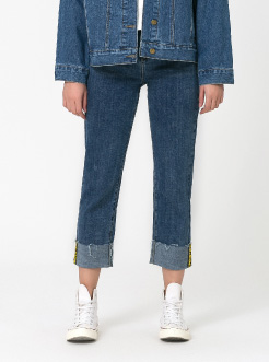 三福2019春装新品女直筒牛仔裤 裤脚织带休闲长裤女