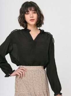 三福2019春装新品女宽松V领衬衫 甜美荷叶边长袖衬衣女