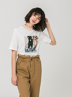 三福2019夏装新品女撞色领印花T恤 韩版休闲短袖上衣女