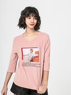 三福2019春装新品女复古印花T恤 休闲圆领中袖上衣女