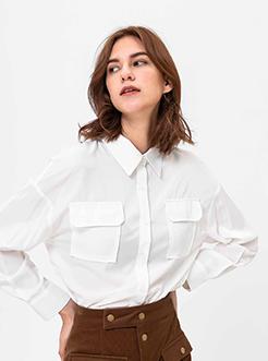 三福2019春装新品女修身长袖衬衫 休闲宽松纯色衬衣女