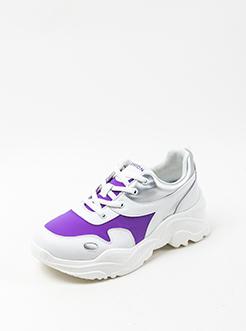 三福2019女春复古撞色拼接系带运动鞋老爹鞋女鞋
