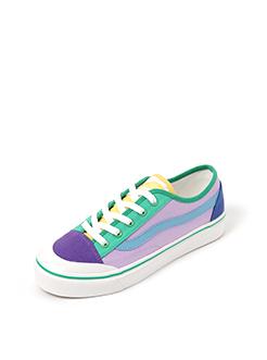 三福2019女春学生创意撞色拼接低帮板鞋帆布鞋休闲女鞋