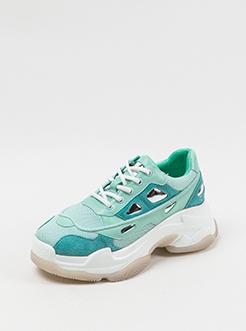 三福2019女春复古创意拼接滚边运动鞋老爹鞋女鞋