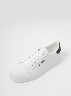 三福2019女春學生簡約系帶低幫板鞋休閑女鞋
