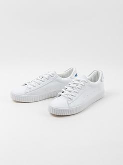 三福2019男春简单纯色系带低帮板鞋休闲男鞋