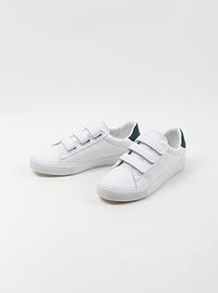 三福2019女春学生简约数字印花魔术贴板鞋休闲女鞋