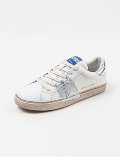 三福2019女春韩版创意星星图标系带板鞋休闲女鞋
