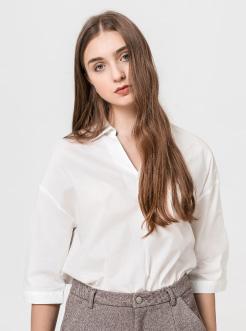 三福2019夏装新品女中长袖棉质衬衫 简约气质衬衣女