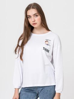 三福2019春装新品女卡通印花T恤 休闲宽松长袖上衣女