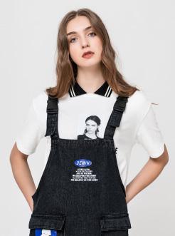 三福2019夏装新品女撞色翻领短袖T恤 人物印花休闲上衣女
