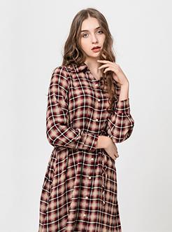 三福2019夏装新品女系带长袖连衣裙 轻薄雪纺长裙女