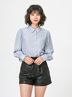 三福2019春装新品女灯笼长袖衬衫 简约日系休闲衬衣女