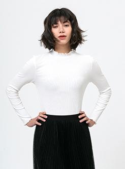 三福2019春装新品女木耳边立领T恤 休闲打底长袖上衣女