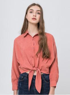 三福2019夏装新品女下摆绑结长袖衬衫 简约休闲衬衣女