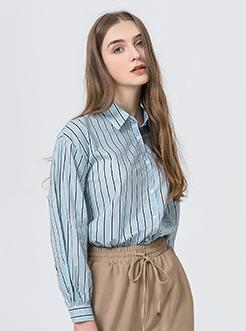 三福2019夏装新品女条纹棉布长袖衬衫 简约休闲衬衣女