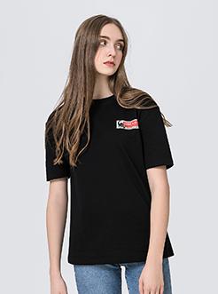 三福2019夏装新品女恐龙印花中袖T恤 学生韩版休闲上衣女