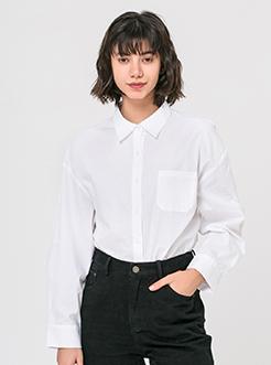 三福2019春裝新品女蝙蝠袖襯衫 簡約棉質休閑襯衣女