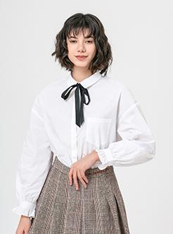 三福2019春裝新品女荷葉邊長袖格紋襯衫 休閑棉質襯衣女