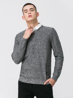 三福2019春装新品男假两件针织衫 潮流撞色衬衣领毛衣男