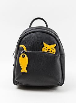 三福2019女春Q趣系列创意猫吃鱼可爱背包双肩女包