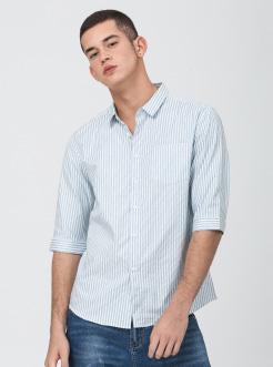 三福2019夏装新品男七分袖条纹衬衫 休闲中袖衬衣男
