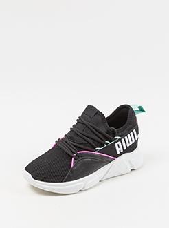 三福2019女春经典撞色边系带针织韩版跑步鞋运动女鞋
