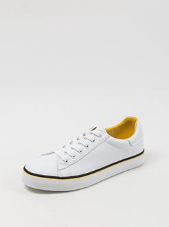 三福2019女春學生撞色邊簡約系帶皮質板鞋小白鞋女鞋
