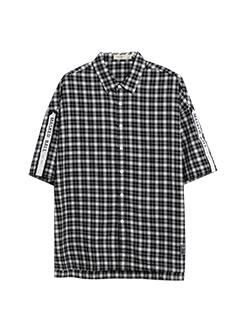 三福2019春装新品男格纹中袖衬衫 字母织带宽松衬衣男