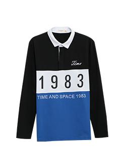 三福2019春装新品男撞色印花长袖T恤 拼接翻领休闲上衣男