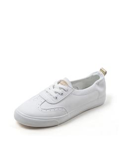 三福2019女夏學生簡約皮面淺口休閑板鞋小白鞋女鞋