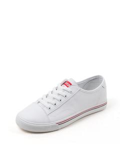 三福2019女夏学生简约皮面系带休闲板鞋小白鞋女鞋