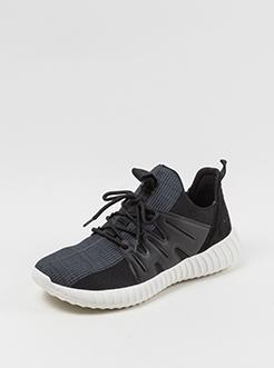 三福2019男夏简约系带韩版针织运动鞋跑步男鞋