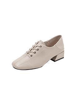三福2019女春复古英伦风方头系带舒适粗跟皮鞋女鞋