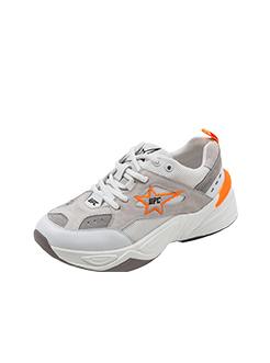 三福2019女春学生撞色星星磨砂皮运动鞋跑步女鞋