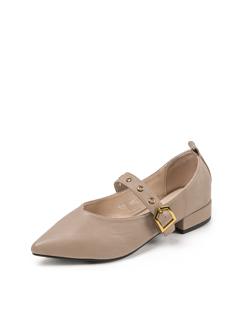 三福2019女春气质尖头一字带粗跟单鞋玛丽珍鞋女鞋