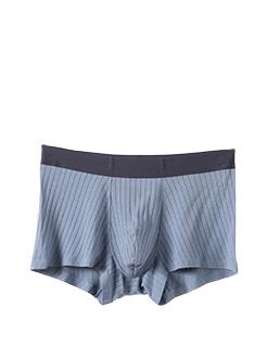 三福 男平角內褲 莫代爾無痕貼邊簡約條紋四角底褲