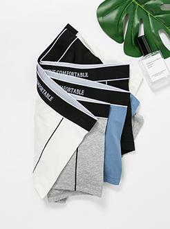 三福 男平角內褲 精梳萊卡棉時尚側邊撞色條四角底褲