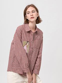 三福2019春装新品女贴布印花格子衬衫 韩版长袖上衣女