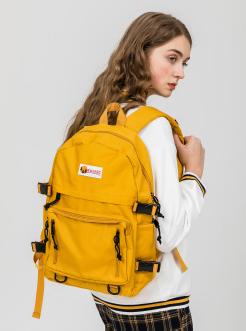 三福2019女春学?#21512;?#21015;工装风大容量旅行双肩背包女包