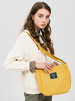 三福2019女春学院系列简约贴标帆布包单肩斜挎包女包
