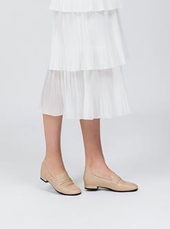 三福2019女春簡約復古石頭紋方頭套腳平跟單鞋休閑女鞋