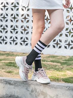 三福2019女春复古磨砂皮拼接系带运动鞋跑步女鞋