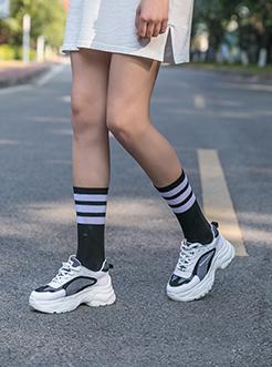 三福2019女春潮流撞色拼接休闲运动鞋老爹鞋女鞋