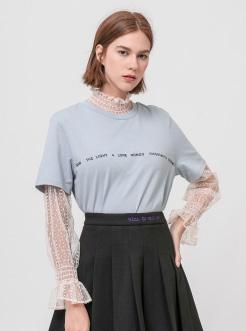 三福2019夏装新品女假两件花纱拼接短袖T恤 简约上衣女