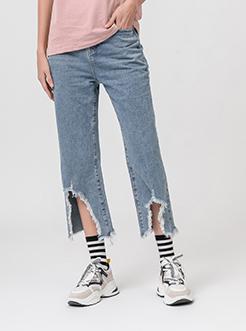 三福2019夏装新品女?#36824;?#21017;毛边牛仔长裤 韩版喇叭裤女