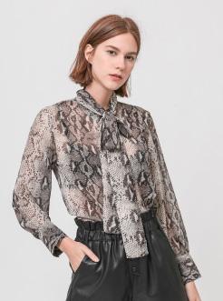 三福2019夏装新品女蛇纹印花雪纺衫 时尚韩版长袖衬衫女