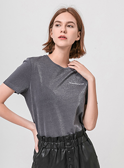 三福2019夏装新品女字母印花T恤 韩版休闲短袖上衣女